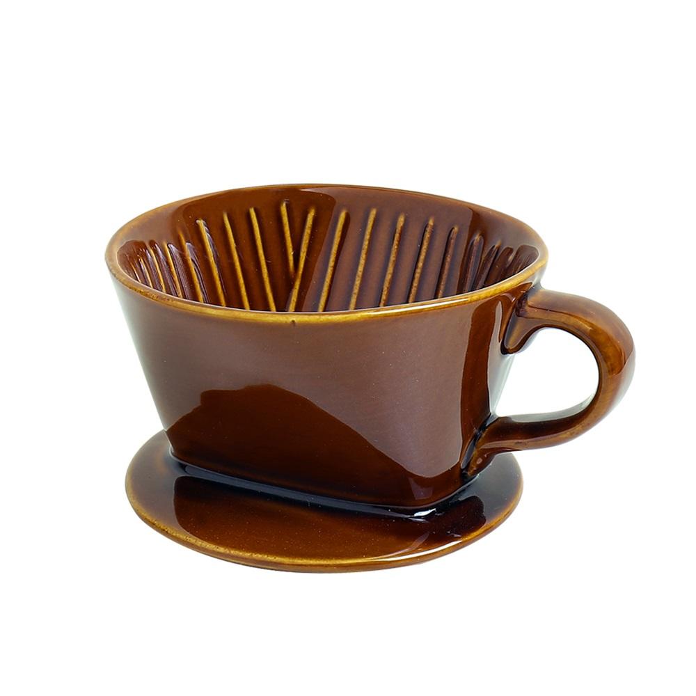 日本FUSHIMA富島|Tlar陶瓷肋型職人濾杯1~2人份(咖啡色)