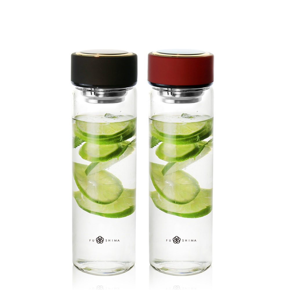 FUSHIMA 富島 禪風雅泡茶耐熱玻璃隨手瓶550ML(2色可選)