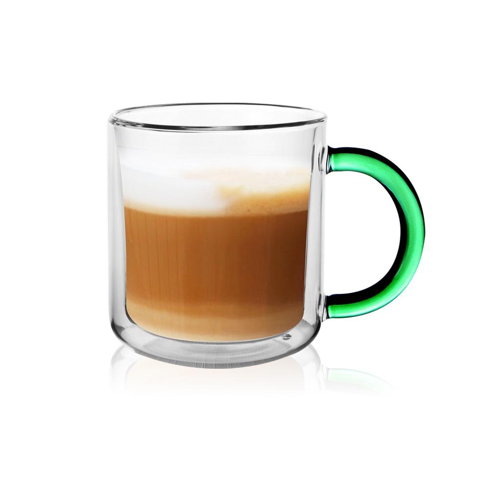 FUSHIMA 富島|經典系列雙層耐熱玻璃杯400ML-綠色(把手)