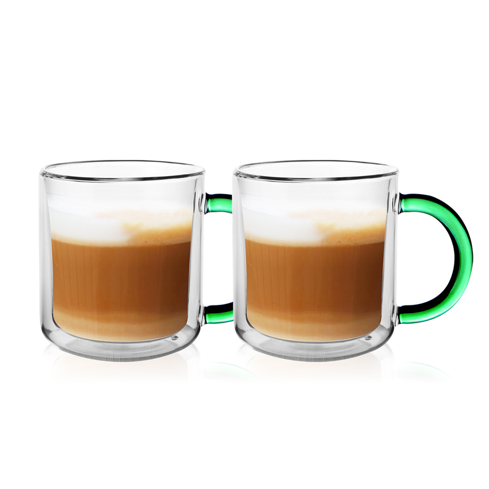 FUSHIMA 富島|經典系列雙層耐熱玻璃杯400ML-綠色(把手)*2入