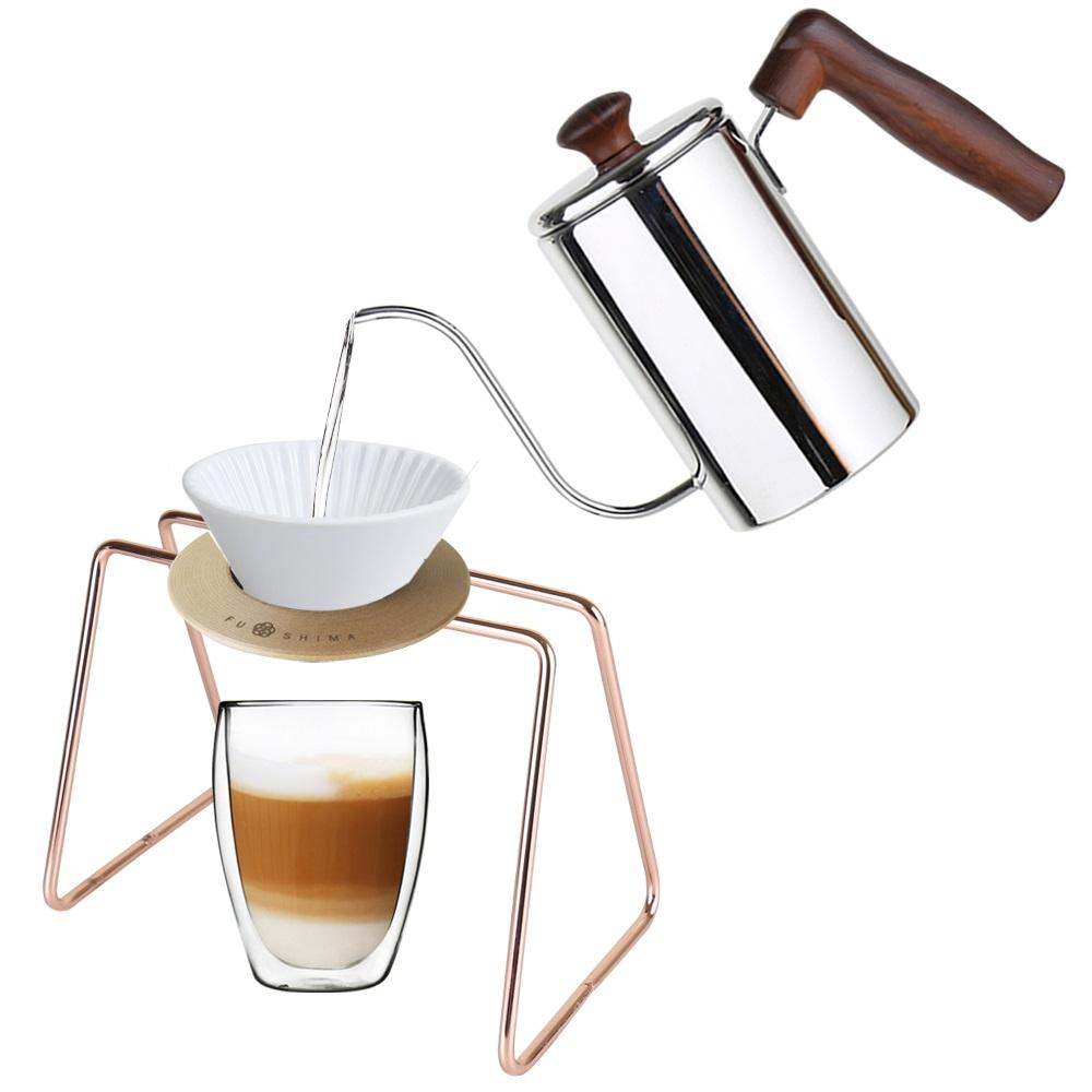 FUSHIMA 富島|手沖系列經典組-細嘴壺+白濾杯+木片+玫瑰金鐵架+雙層玻璃杯350ML