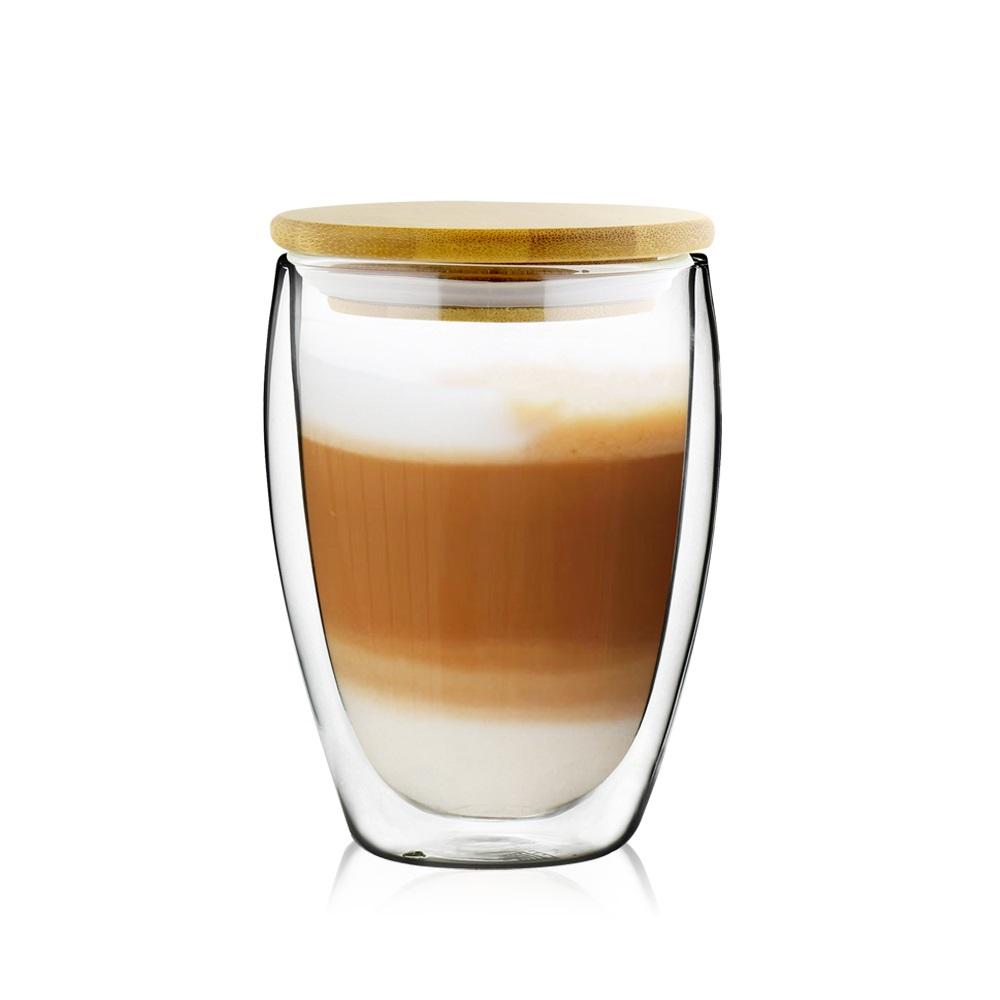 FUSHIMA 富島|經典系列雙層耐熱玻璃杯350ML(附專屬竹蓋)