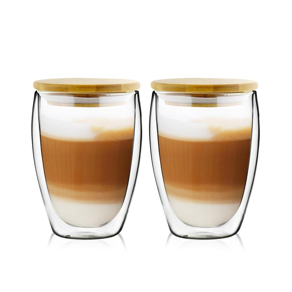 FUSHIMA 富島 經典系列雙層耐熱玻璃杯350ML(附專屬竹蓋)*2入