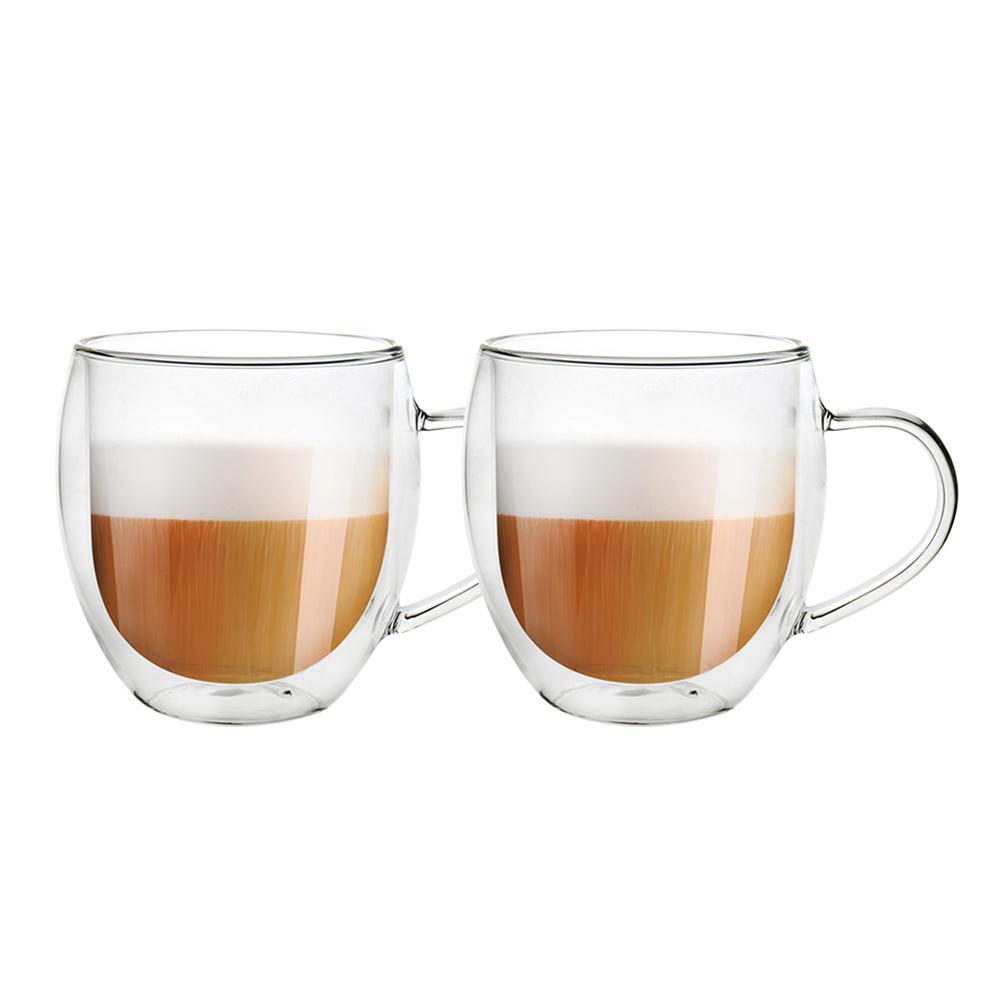 FUSHIMA 富島|經典系列雙層耐熱玻璃杯540ML(把手)*2入