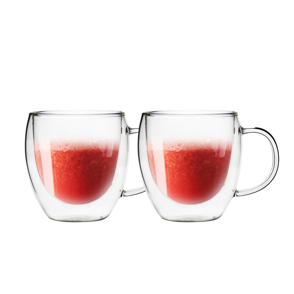 FUSHIMA 富島 經典系列雙層耐熱玻璃杯160ML(把手)*2入
