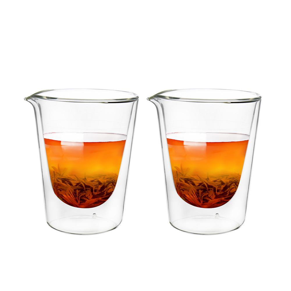 FUSHIMA 富島 拉花尖嘴雙層耐熱玻璃杯230ML*2入