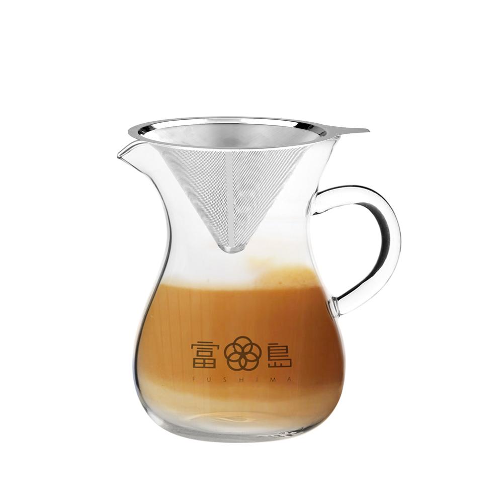 FUSHIMA 富島 精細VI不鏽鋼免濾紙濾杯1~2人份(B001)+無塑菁粹玻璃分享壺850ML