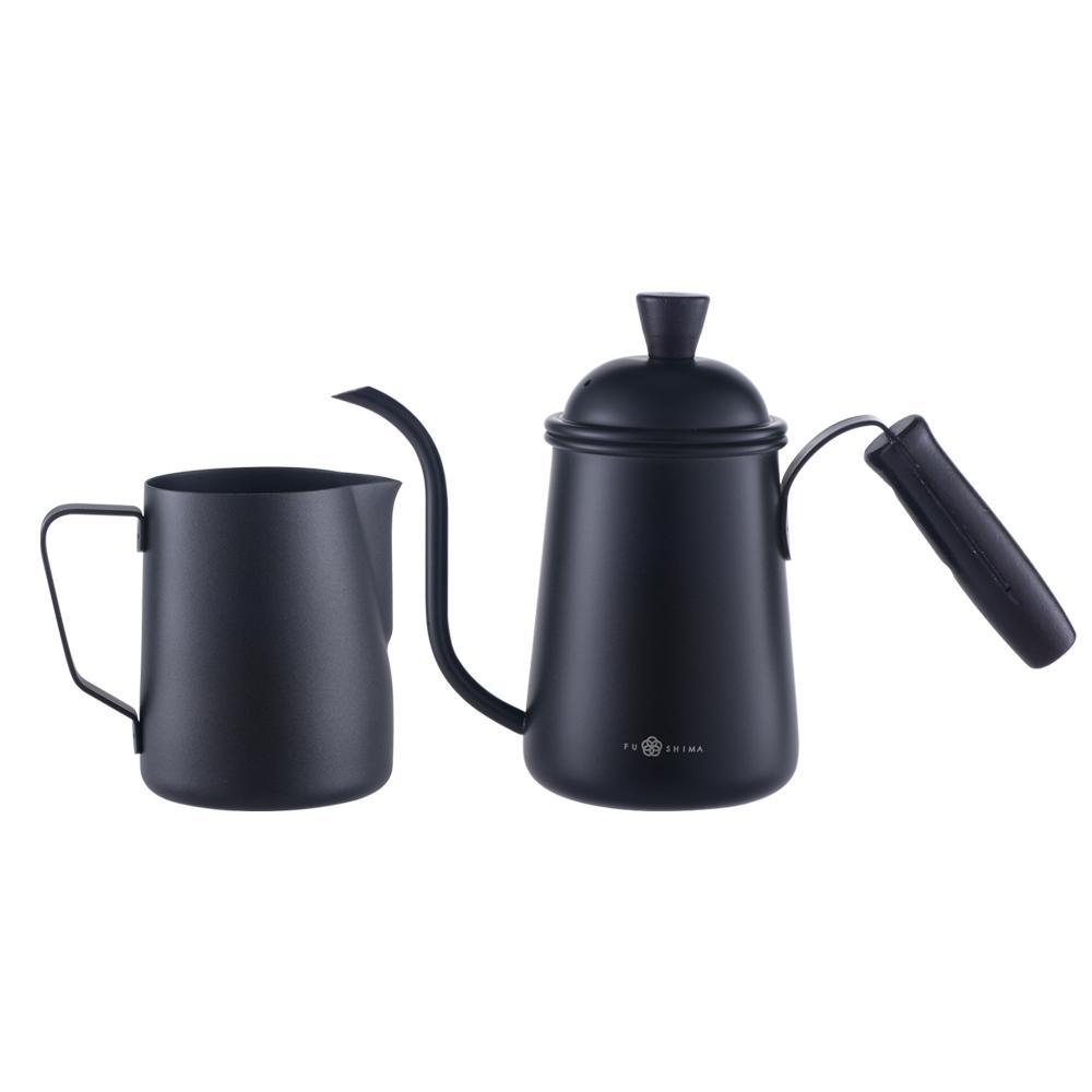FUSHIMA 富島|手沖咖啡黑爵系列(細嘴壺650ML+拉花杯600ML)