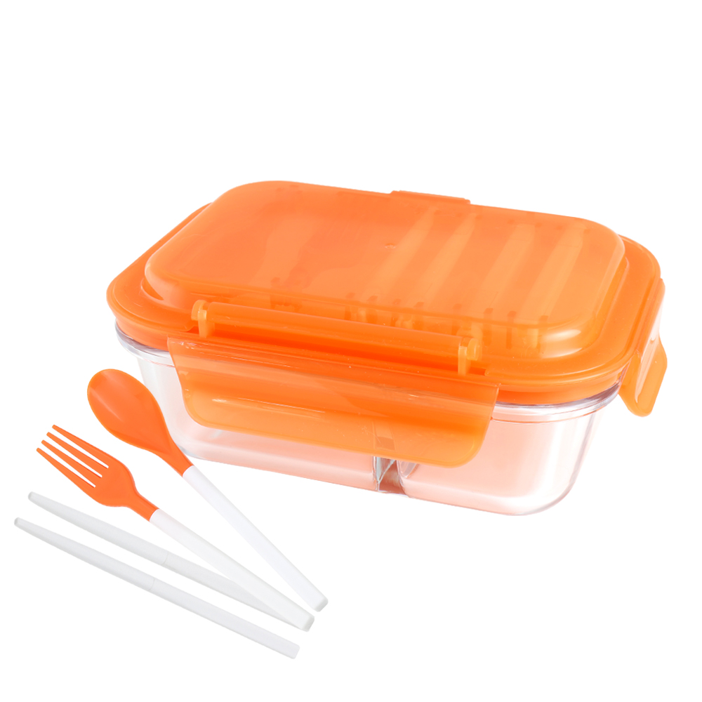 美國 Winox|安玻分隔玻璃保鮮盒長形2格600ML附組合餐具*2入