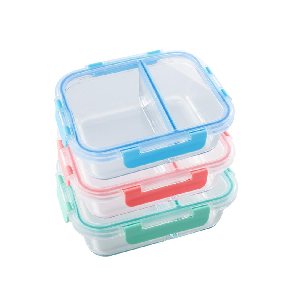 美國 Winox|安玻分隔玻璃保鮮盒長形2格1000ML(3色可選)