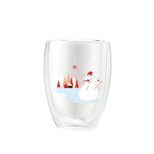 FUSHIMA 富島|聖誕限定-Joy樂摯雙層耐熱玻璃杯雪人款350ML