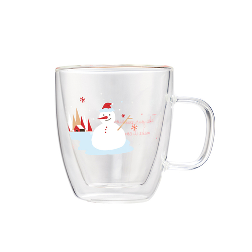 FUSHIMA 富島 聖誕限定-Joy樂摯雙層耐熱玻璃杯雪人款370ML(把手)