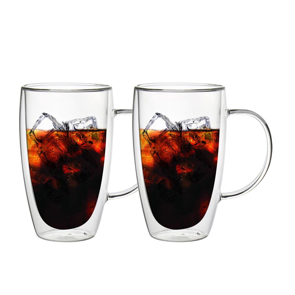 FUSHIMA 富島|經典系列雙層耐熱玻璃杯460ML(把手)*2入