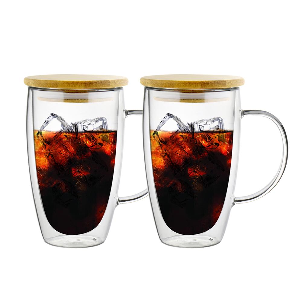 FUSHIMA 富島|經典系列雙層耐熱玻璃杯460ML-把手(附專屬竹蓋)*2入