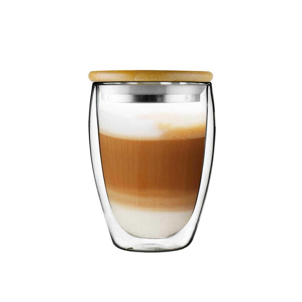 FUSHIMA 富島|經典系列雙層耐熱玻璃杯350ML(附鋼心竹蓋)