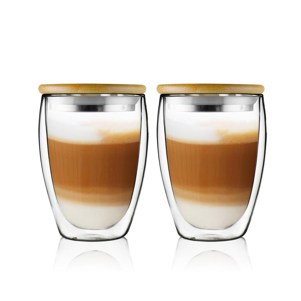 FUSHIMA 富島 經典系列雙層耐熱玻璃杯350ML(附鋼心竹蓋)*2入