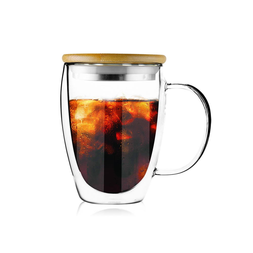 FUSHIMA 富島|經典系列雙層耐熱玻璃杯350ML-把手(附鋼心竹蓋)