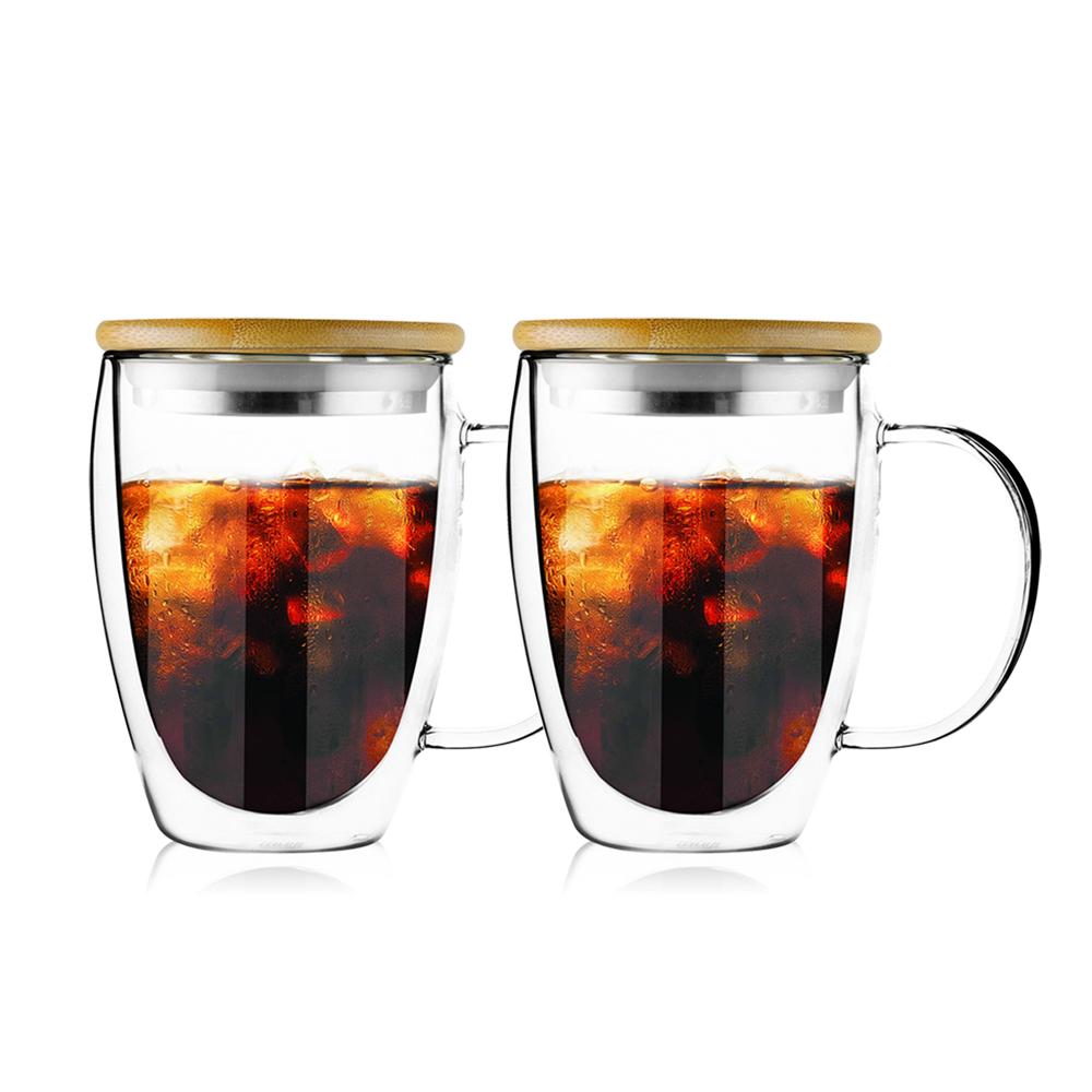 FUSHIMA 富島|經典系列雙層耐熱玻璃杯350ML-把手(附鋼心竹蓋)*2入