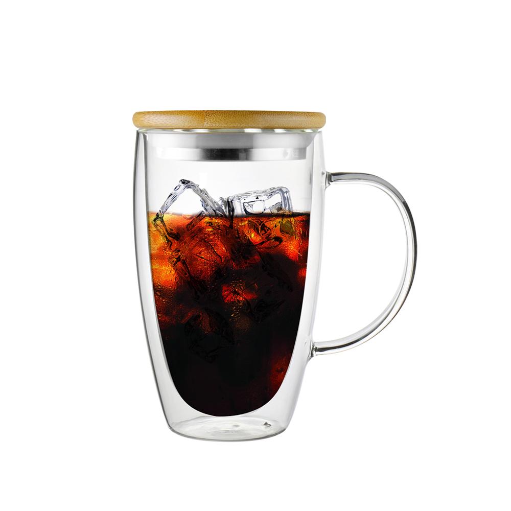 FUSHIMA 富島|經典系列雙層耐熱玻璃杯460ML-把手(附鋼心竹蓋)