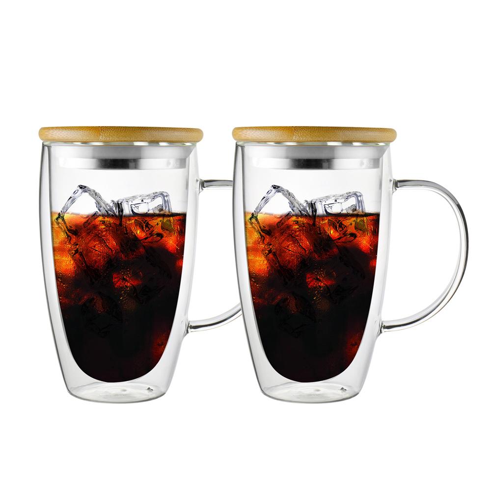 FUSHIMA 富島|經典系列雙層耐熱玻璃杯460ML-把手(附鋼心竹蓋)*2入