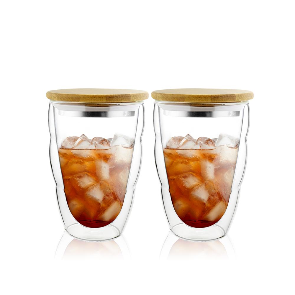 FUSHIMA 富島|造型系列雙層耐熱雲朵玻璃杯330ML(附鋼心竹蓋)*2入