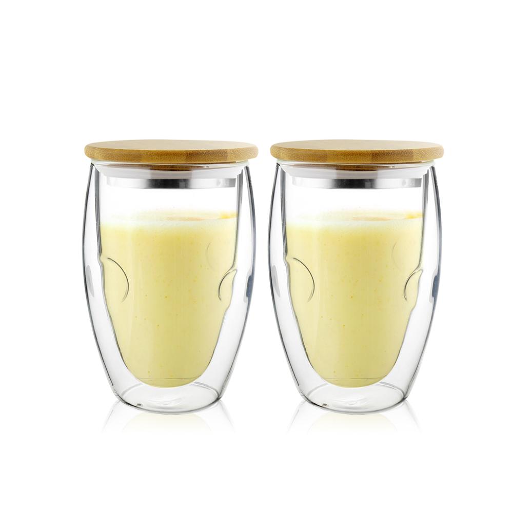 FUSHIMA 富島|Soda系列雙層耐熱玻璃杯370ML(附鋼心竹蓋)*2入