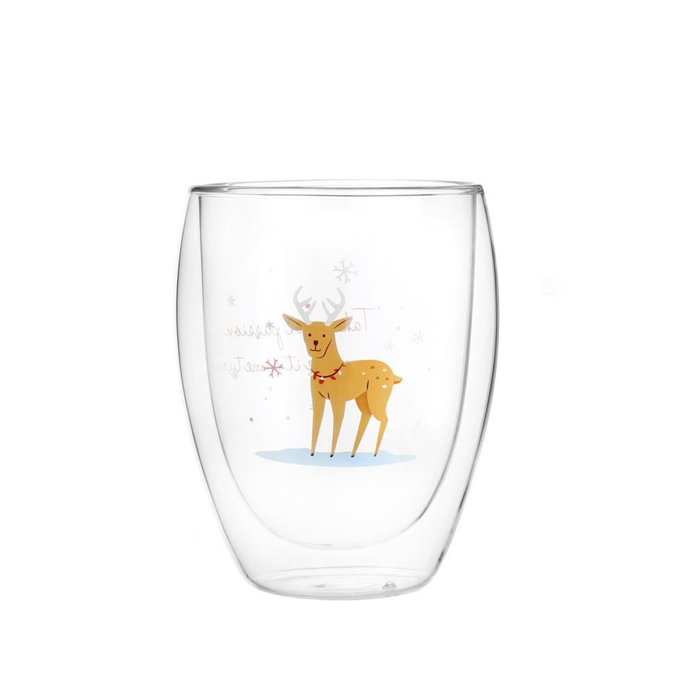 FUSHIMA 富島|聖誕限定-Joy樂摯雙層耐熱玻璃杯麋鹿款350ML