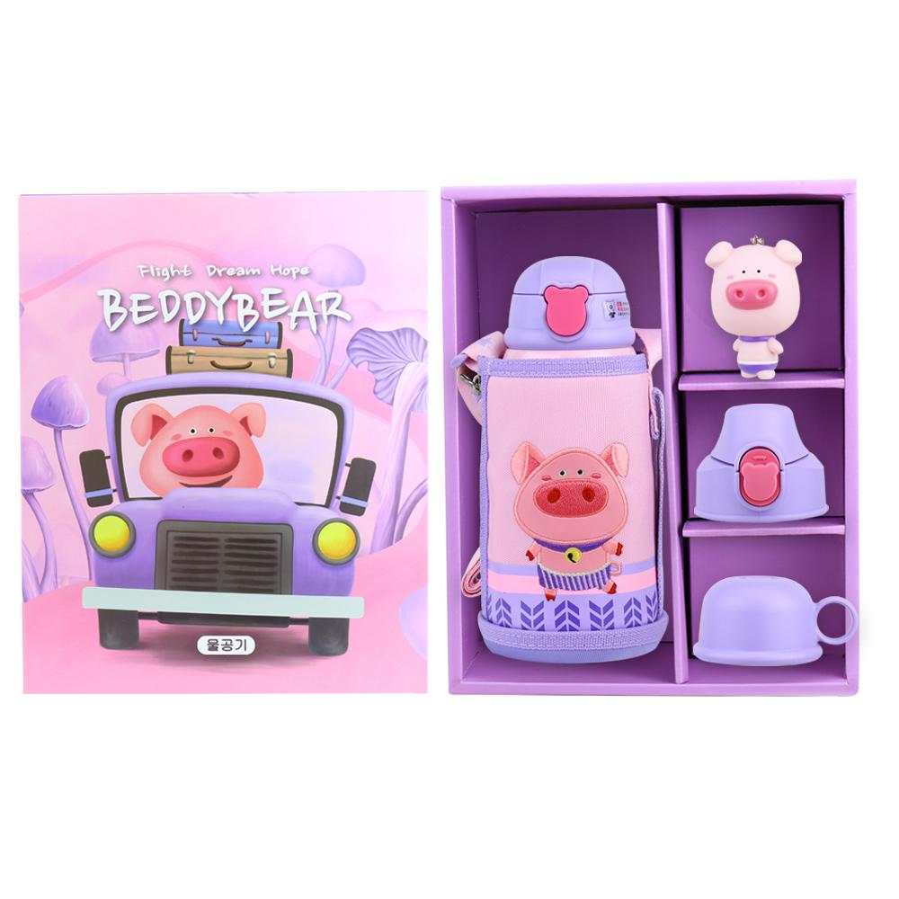 BEDDY BEAR|316不鏽鋼兒童可背式水壺禮盒組630ML(小豬款)