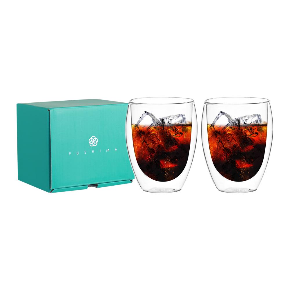FUSHIMA 富島|雙層耐熱玻璃杯經典禮盒350ML*2入