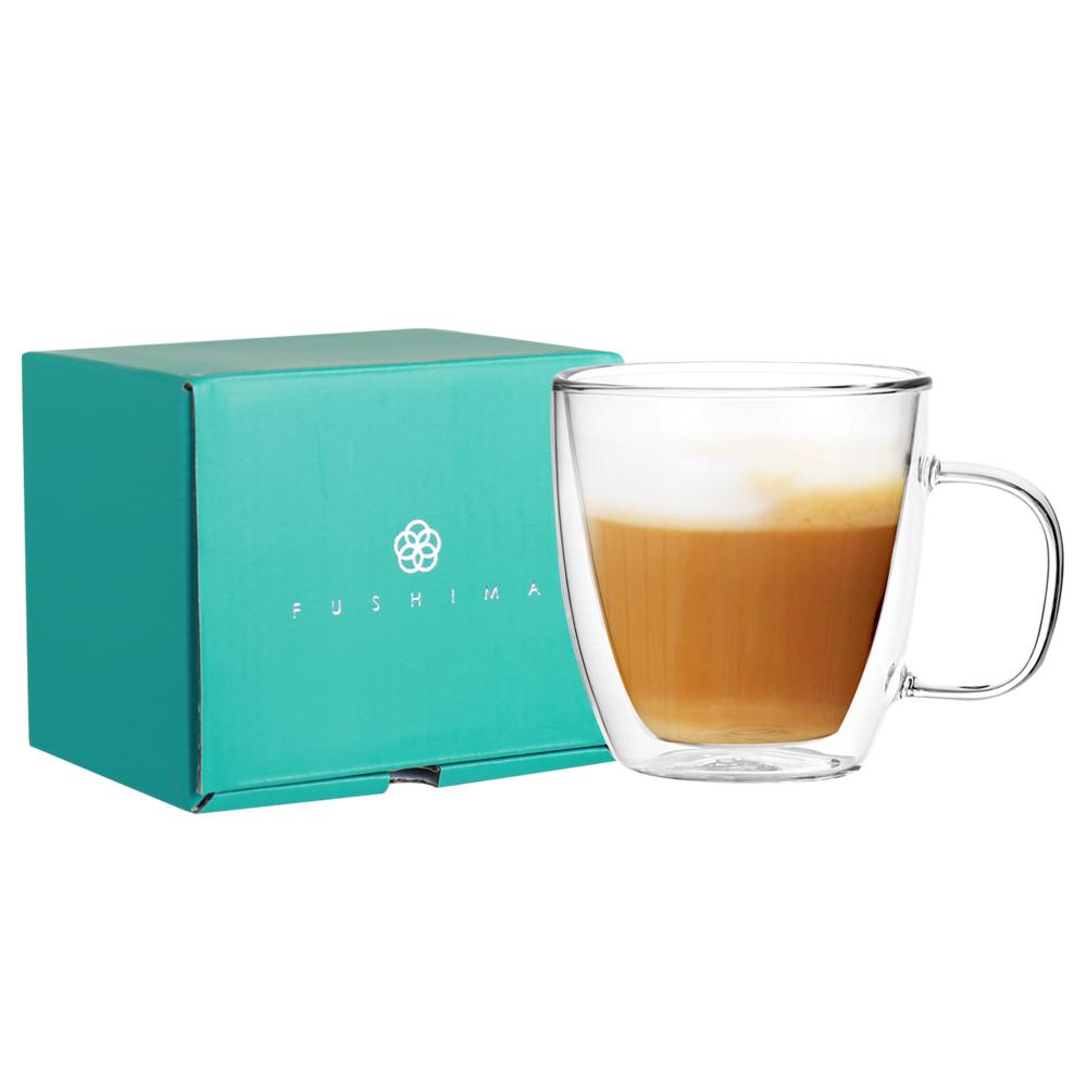 FUSHIMA 富島 雙層耐熱玻璃杯經典禮盒370ML (把手)