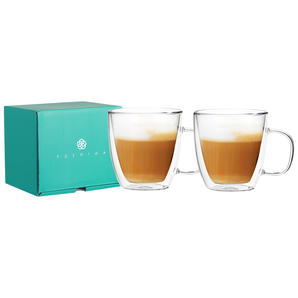 FUSHIMA 富島|雙層耐熱玻璃杯經典禮盒370ML (把手)*2入