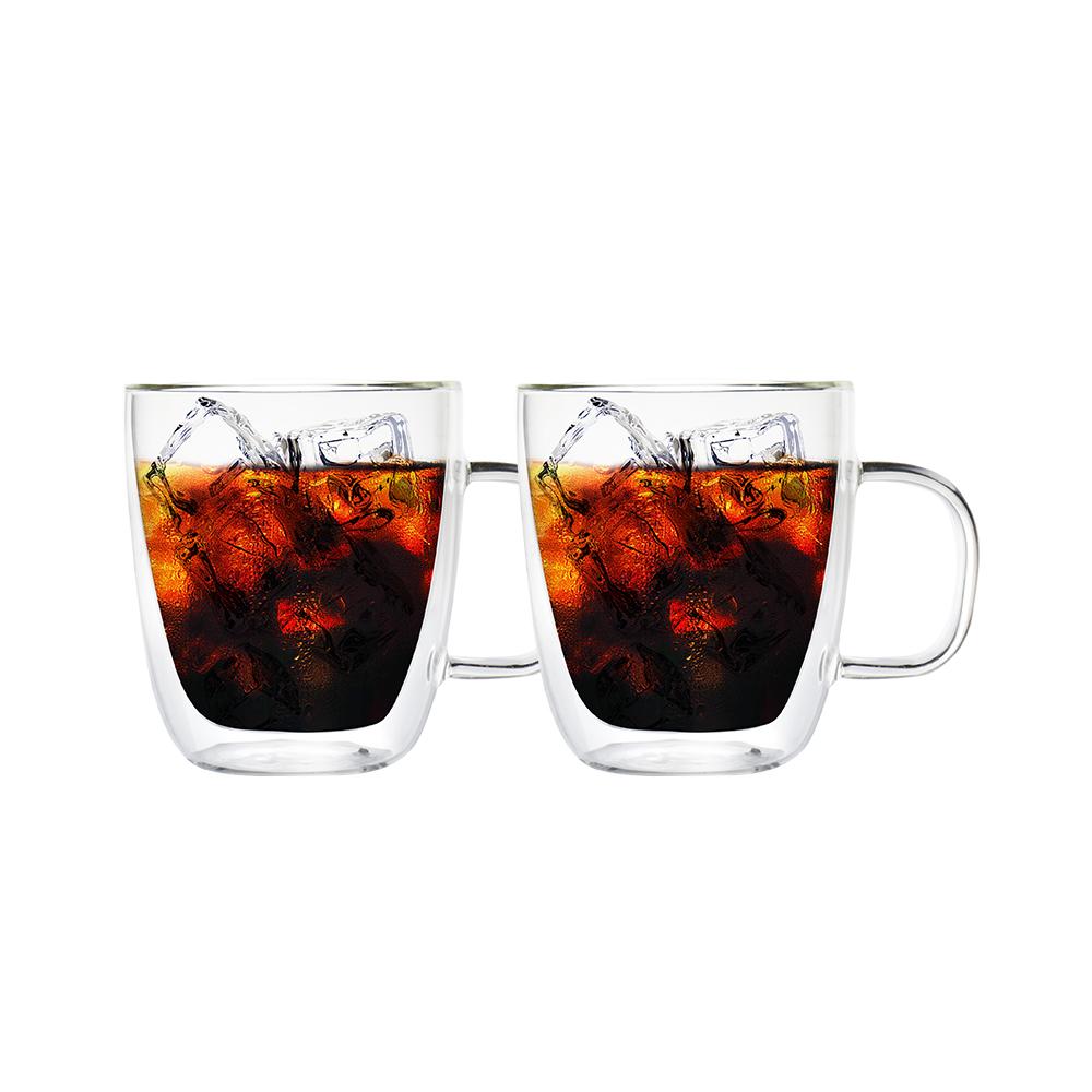 FUSHIMA 富島|經典系列雙層耐熱玻璃杯400ML(把手)*2入