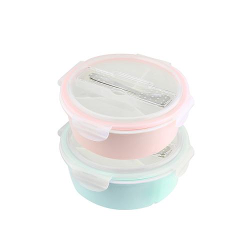 美國 Winox|樂瓷系列陶瓷保鮮盒圓形附餐具3格1058ML(2色可選)
