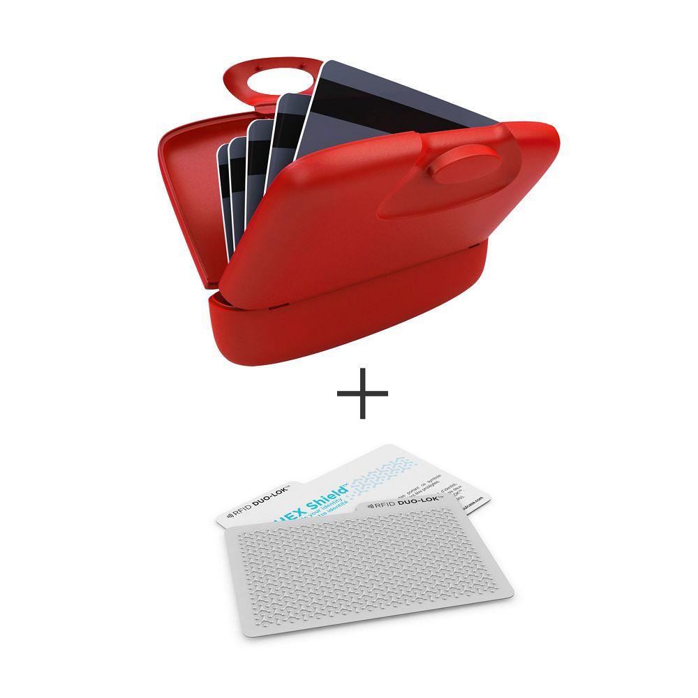 加拿大 Capsul  Duo-Lok RFID防盜錄卡(2張)+萬用夾(1入) - 紅