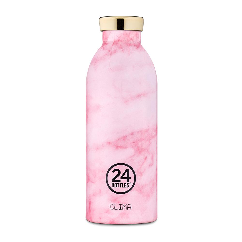 義大利 24Bottles | 不鏽鋼雙層保溫瓶 500ml - 粉紅大理石