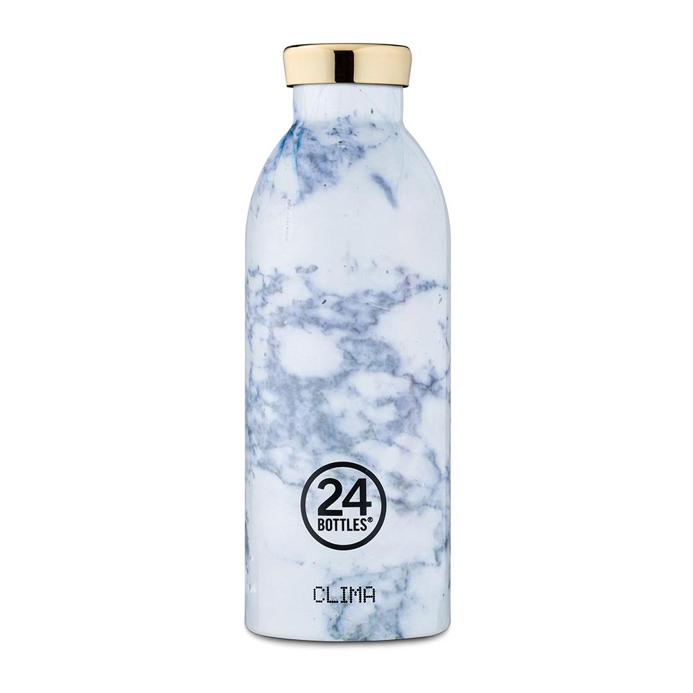 義大利 24Bottles | 不鏽鋼雙層保溫瓶 500ml - 藍紋大理石