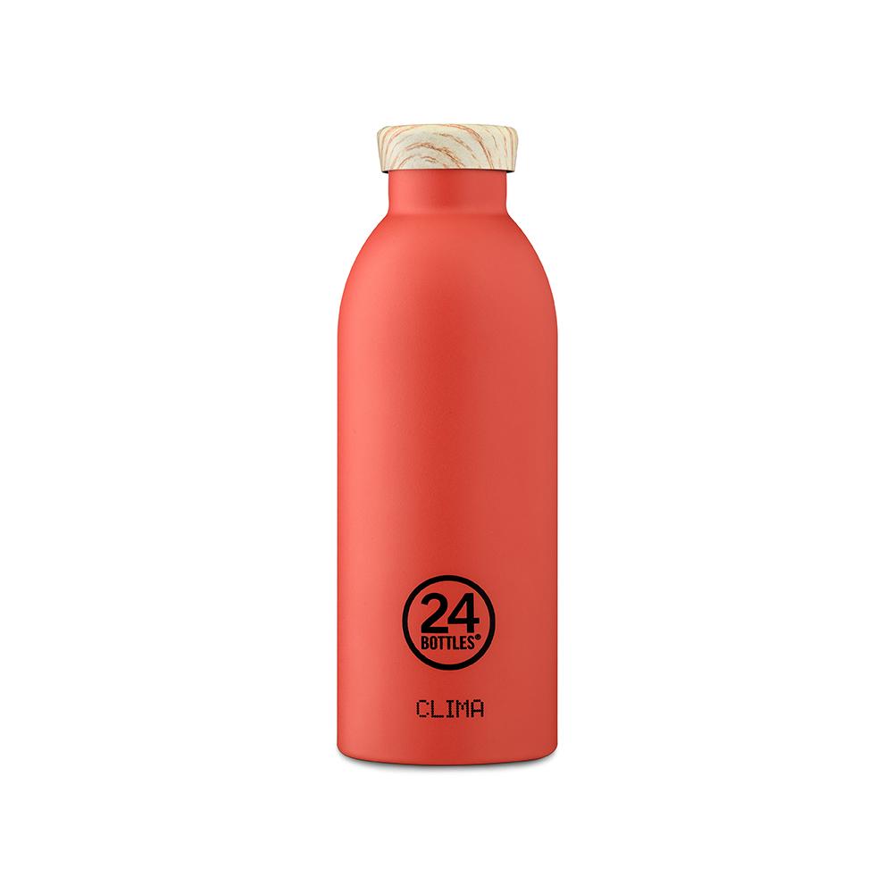 義大利 24Bottles|不鏽鋼雙層保溫瓶 500ml - 珊瑚紅(木紋蓋)