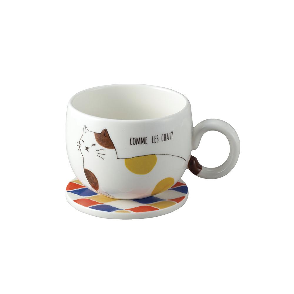 日本 sunart │ 馬克杯磁磚墊 - 三花貓(附杯墊)