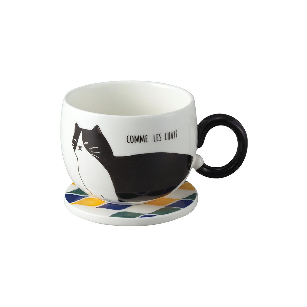 日本 sunart │ 馬克杯磁磚墊 - 黑貓(附杯墊)