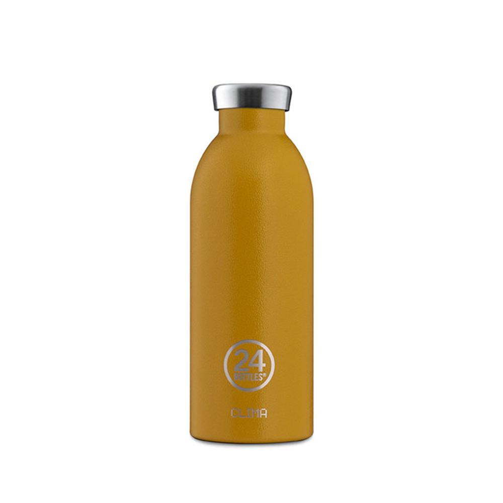 義大利 24Bottles|不鏽鋼雙層保溫瓶 500ml - 銀杏黃