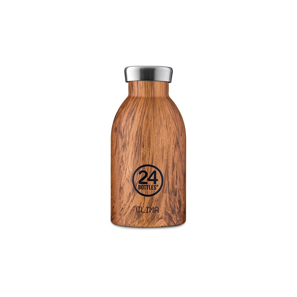 義大利 24Bottles|不鏽鋼雙層保溫瓶 330ml - 紅杉木紋