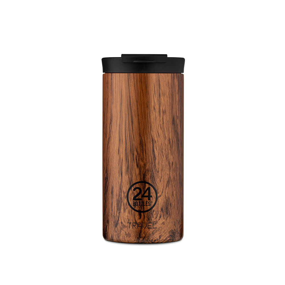 義大利 24Bottles|保溫隨行杯 600ml - 紅杉木紋