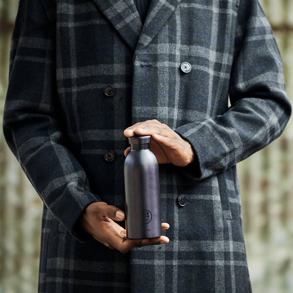 義大利 24Bottles|不鏽鋼雙層保溫瓶 500ml - 黑碧璽