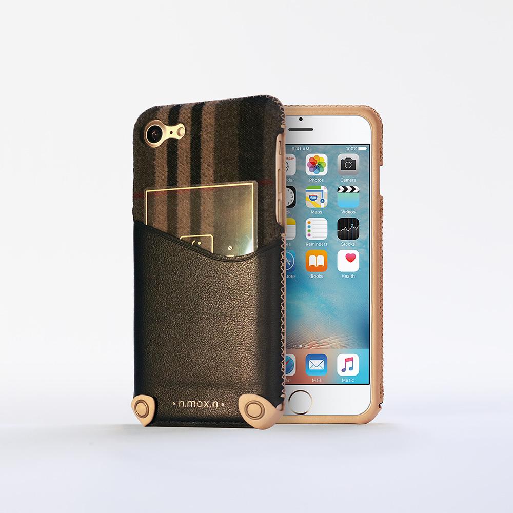 n.max.n iPhone 7 / 4.7吋 新極簡混搭款皮革保護套 - 雅緻黑