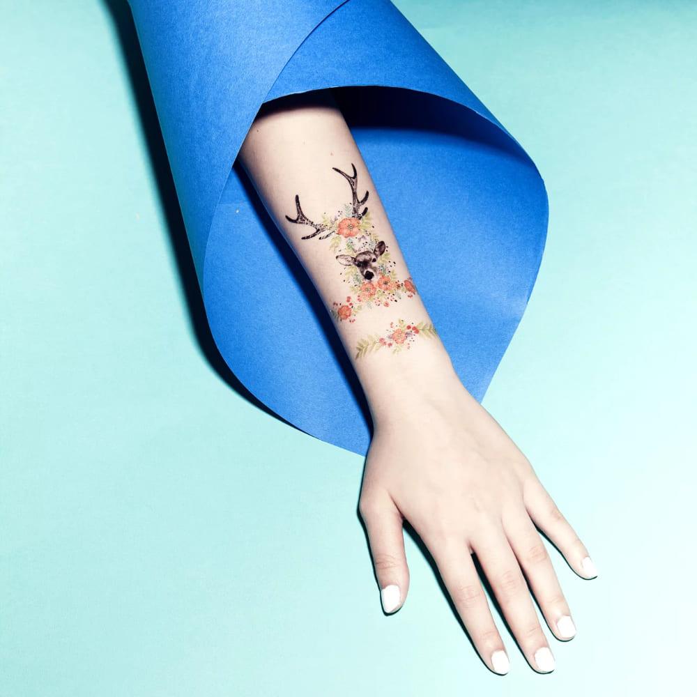 PAPERSELF|鹿角森林 刺青紋身貼紙 Floral Fawn(金)