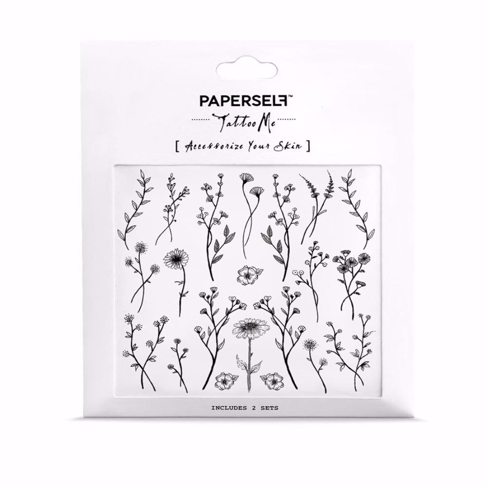 PAPERSELF|微野花 刺青紋身貼紙 Wild flower(金)