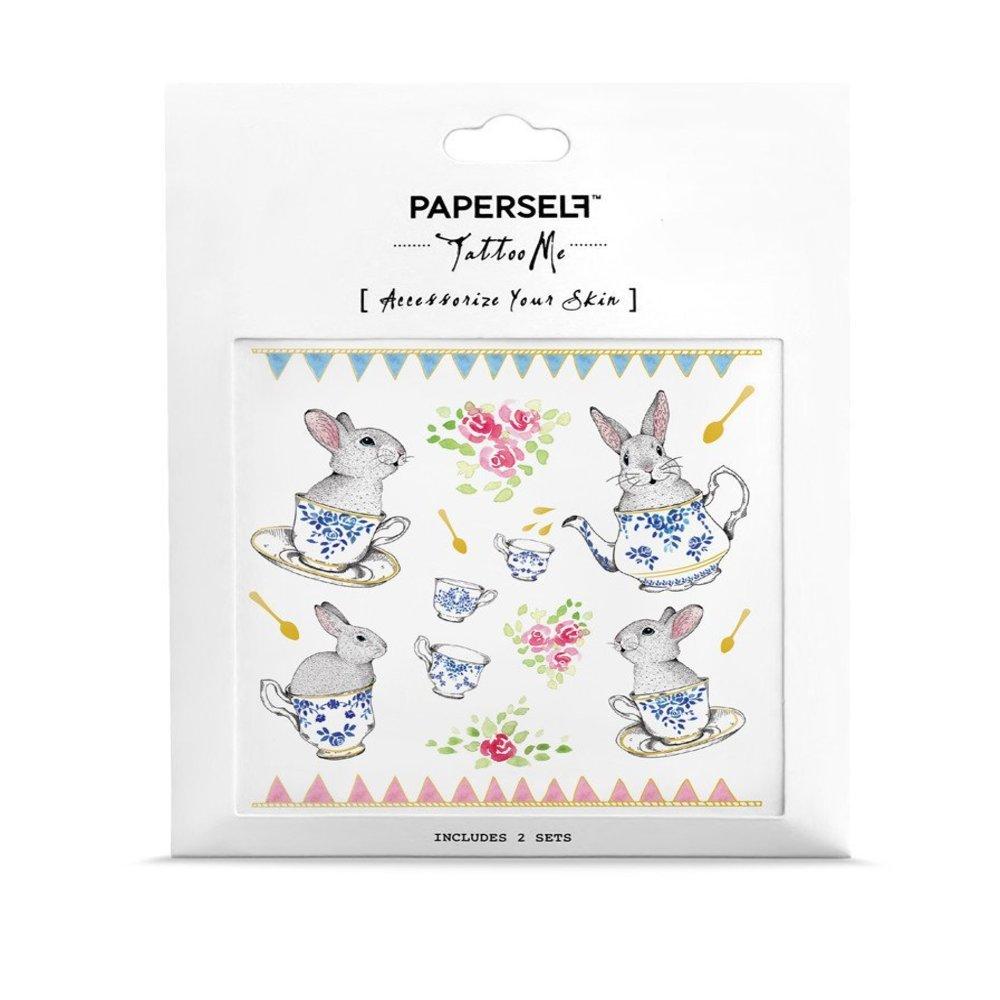 PAPERSELF|午茶兔女伶 刺青紋身貼紙 Rabbit Tea Party(金)