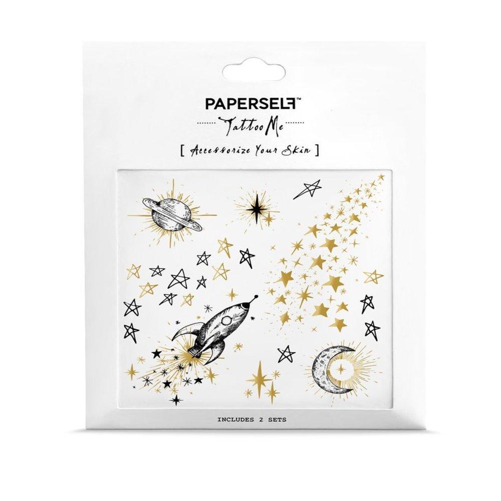 PAPERSELF|銀河宇宙 刺青紋身貼紙 Galaxy(金)