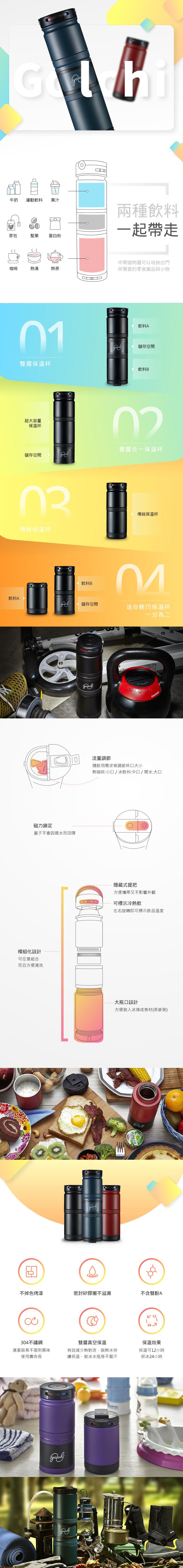 Golchi|多功能 304 不鏽鋼淬煉保溫瓶 - 黑色