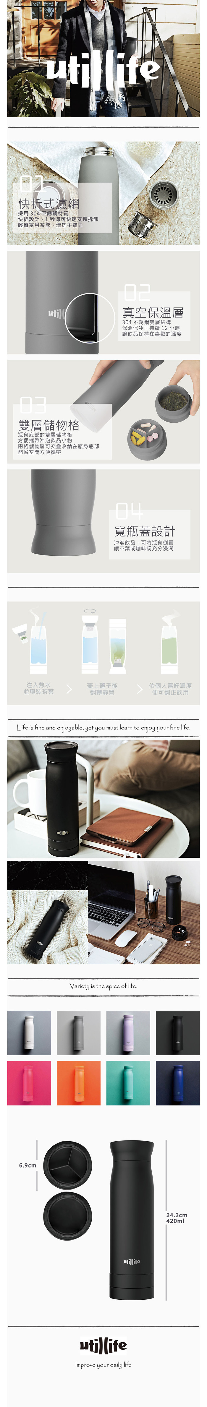 Utillife |輕盈收納304不銹鋼保溫瓶(420ml) - 黑色